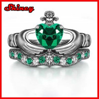 Sterling Silver priness cut emerald crown wedding ring for women