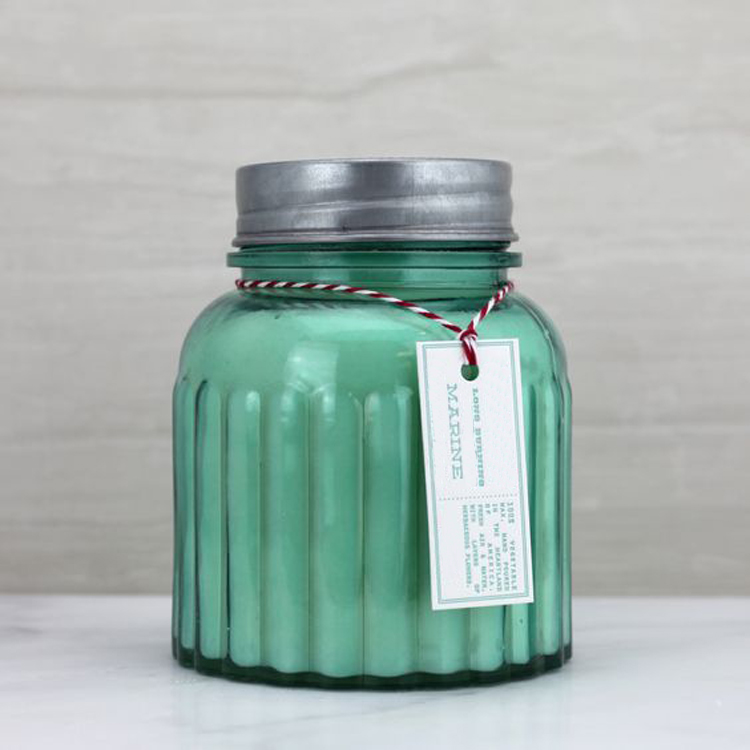 highly scented luxe custom candle in fluted jar with metal lid for wedding gift