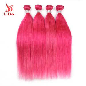 Indian Pink color human Hair weave extensions Natural Weft weaves hair
