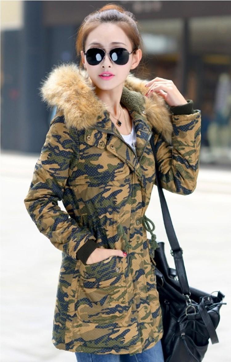 Blouson Parka femme vert camouflage M capuche Fausse