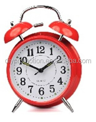 2014 OEM red twin bell alarm clock for children