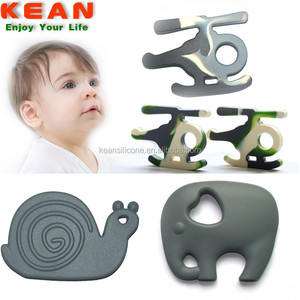 BPA free silicone pendant elephant shaped soft plastic baby teether
