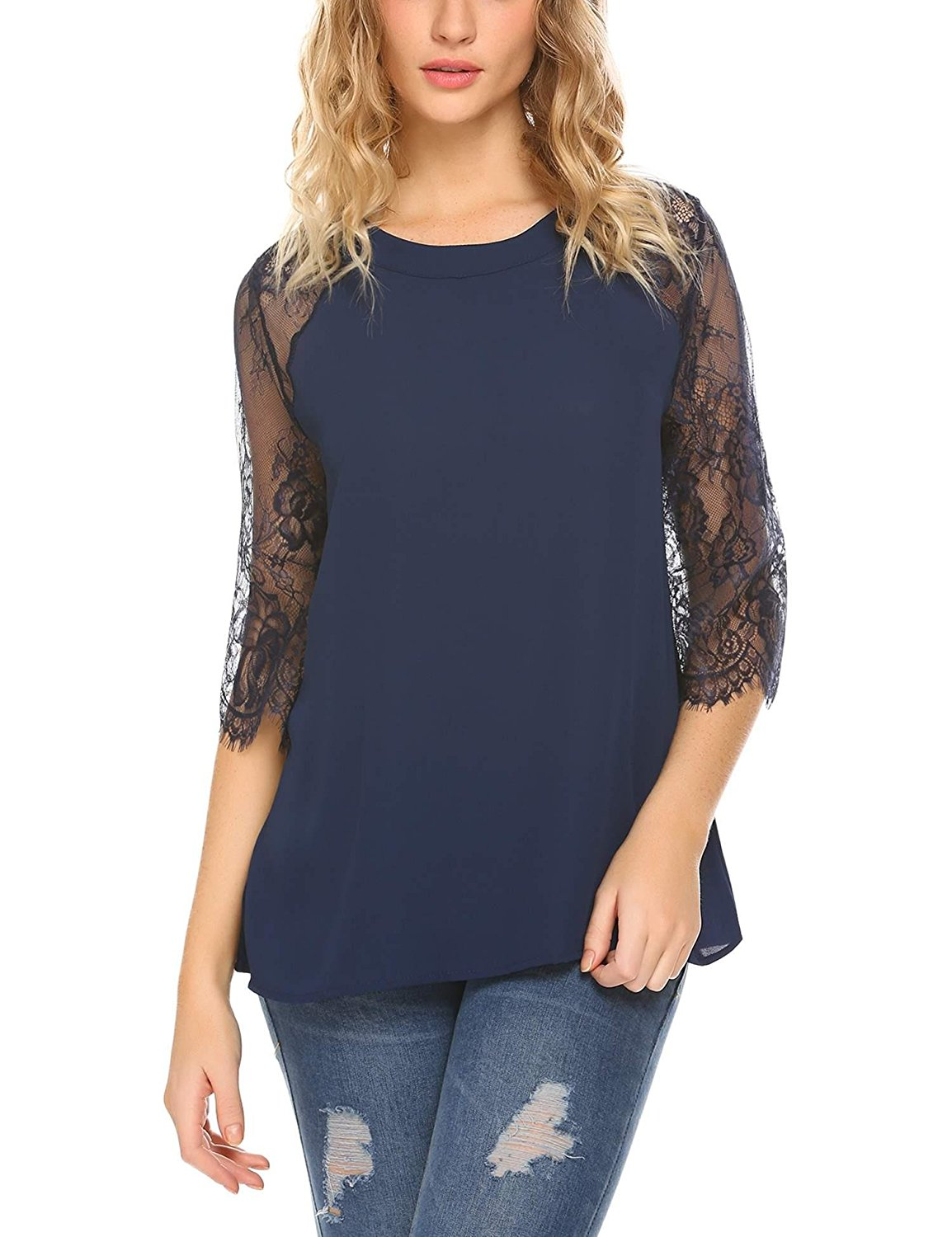 SoTeer Women 3/4 Lace Sleeve Blouse Sexy Keyhole Back Tunic Top Navy Blue XXL