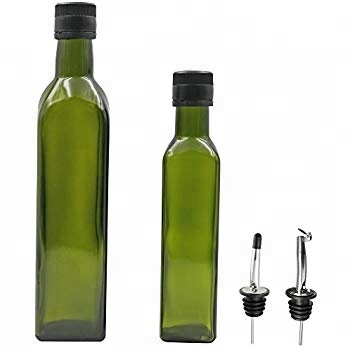 Wholesale 250ml 500ml 750ml round /square dark green olive oil bottle cooking oil glass empty bottle