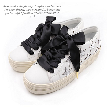 b714fdd27a08c5 Women fashion flat wide satin ribbon shoelaces for solid color shoes with  metal ends