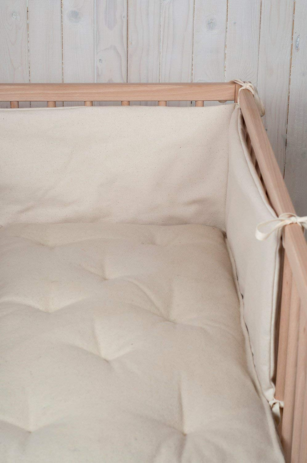 Wool Filled Baby Crib Bumper / 3-sided or 4-sided / Natural Silk, Cotton or Linen Cover / Custom Sizes on Request