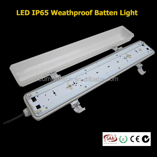 1.2m 36W 4ft LED IP65 Rating linear weatherproof TriProof led plastic batten