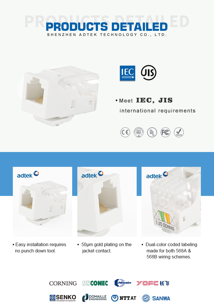 Listed Bulk Price Rj45 8p8c Cat 5e T568a B Utp Keystone Jack Cat5e Wiring Manufacturer
