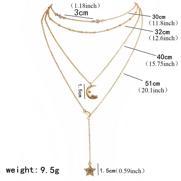 Fashion Hot Sale Moon Star Gold Bohemian Pendant Multi Layered Choker Women's Long Chain Wedding Necklace Girls Jewelry Gifts