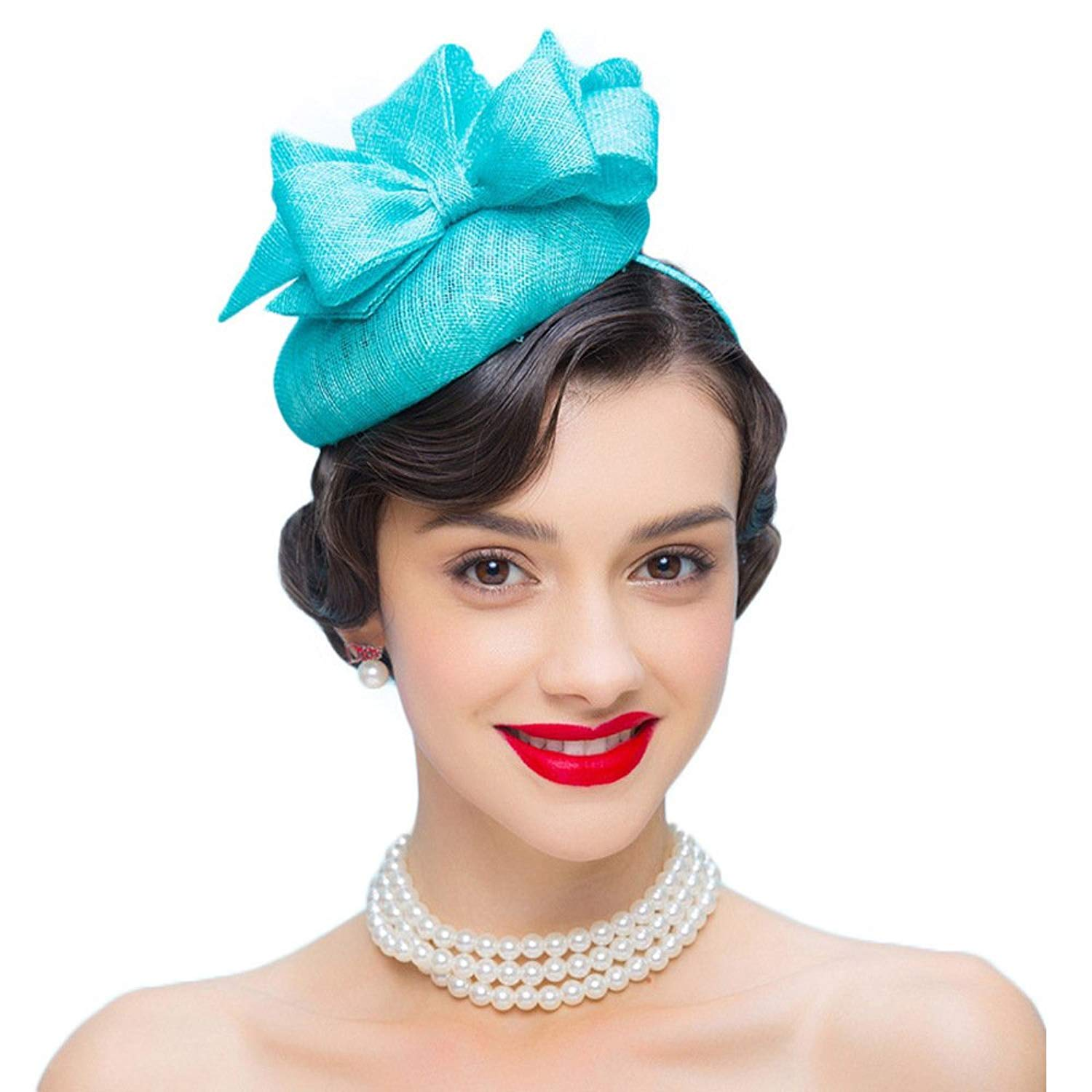 Get Quotations · Fascinators Wedding Party Hats for Women Pillbox Hats  Flower Derby Hat for Church Tea Party Fancy 66a5181c010e