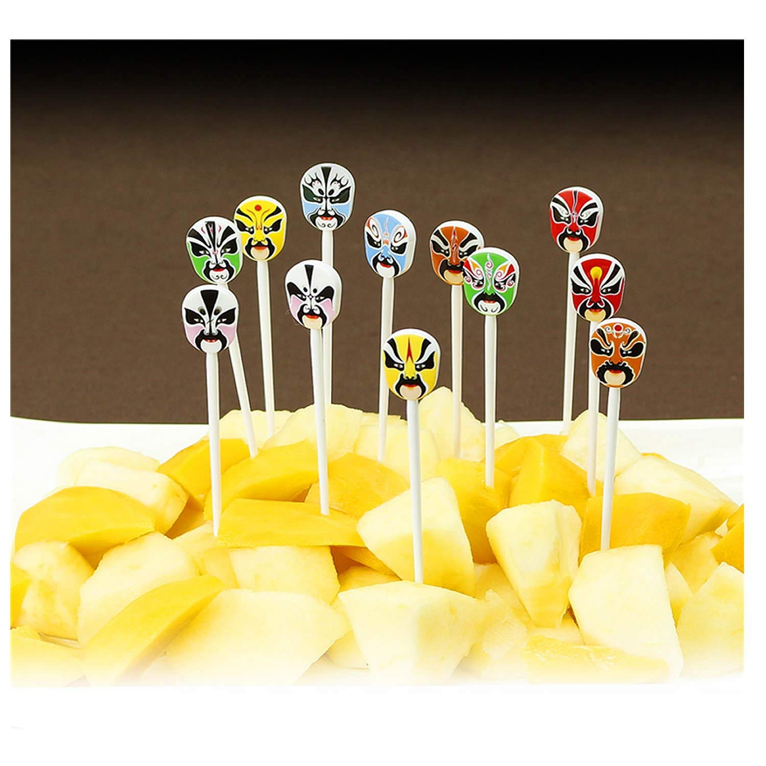 MAXGOODS Chinese Style Beijing Opera Fruit Picks Chinese Gifts Mini Cartoon Peking Opera Fruit Forks Set of 12 Salad Fork Set for Home and Restaurant,Lunch Box