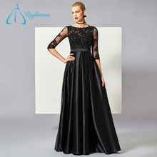Satin Sequined Sashes Button Tulle Black Long Sleeve Evening Dresses
