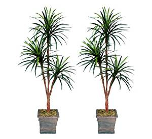 TWO 6' Yucca Tripled Artificial Trees Silk Plants, with No Pot,