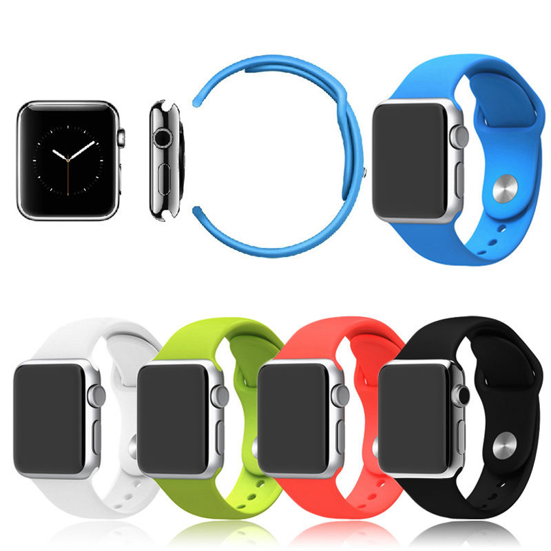 New Design Silicone Band With Connector Adapter  watchbands For Apple Watch 42mm/38mm Strap For iWatch Sports Buckle Bracelet