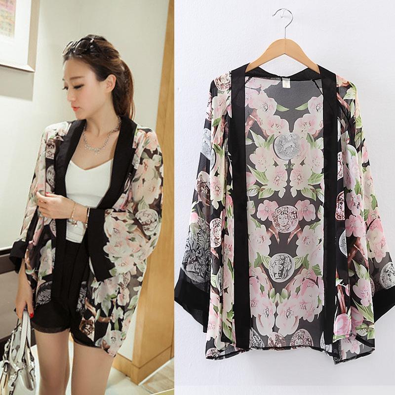 2014 nouveau mode femme imprim cardigan blusas casual blouse kimono livraison gratuite. Black Bedroom Furniture Sets. Home Design Ideas