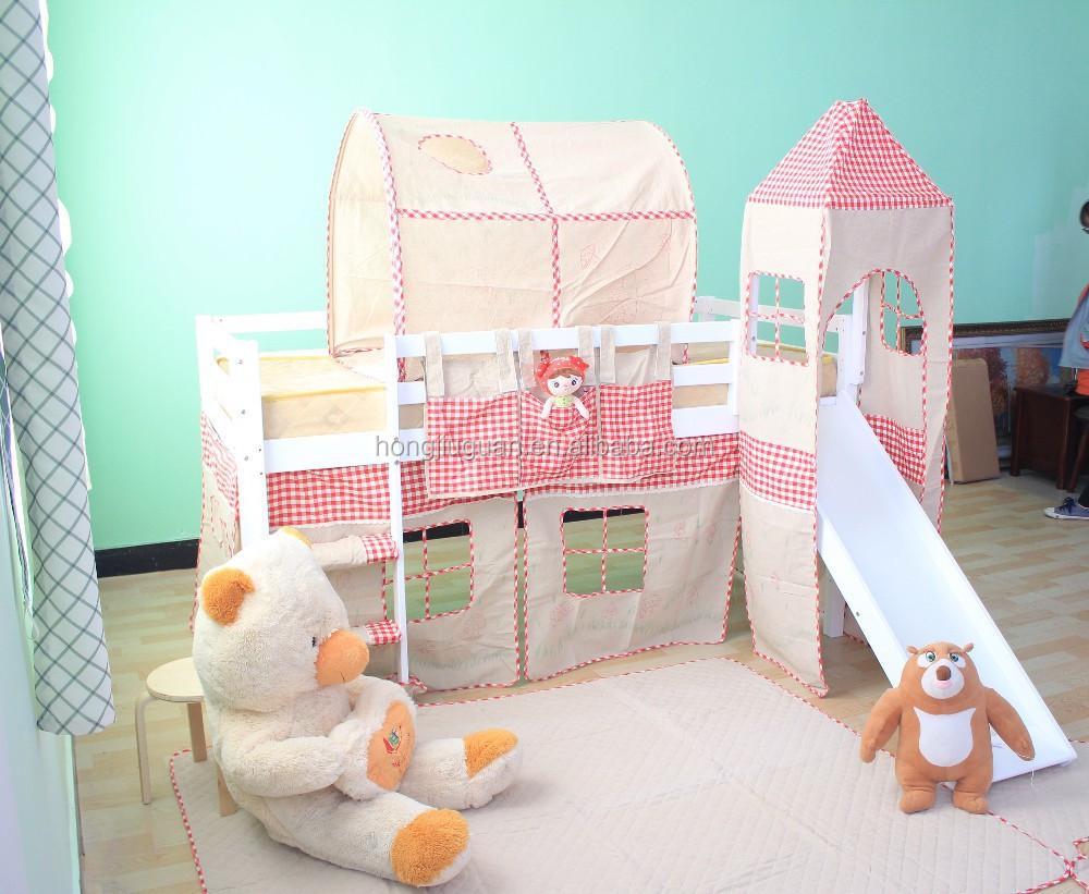 Slaapkamer meubilair, houten half hoogslaper, kinderen bed-bedden ...