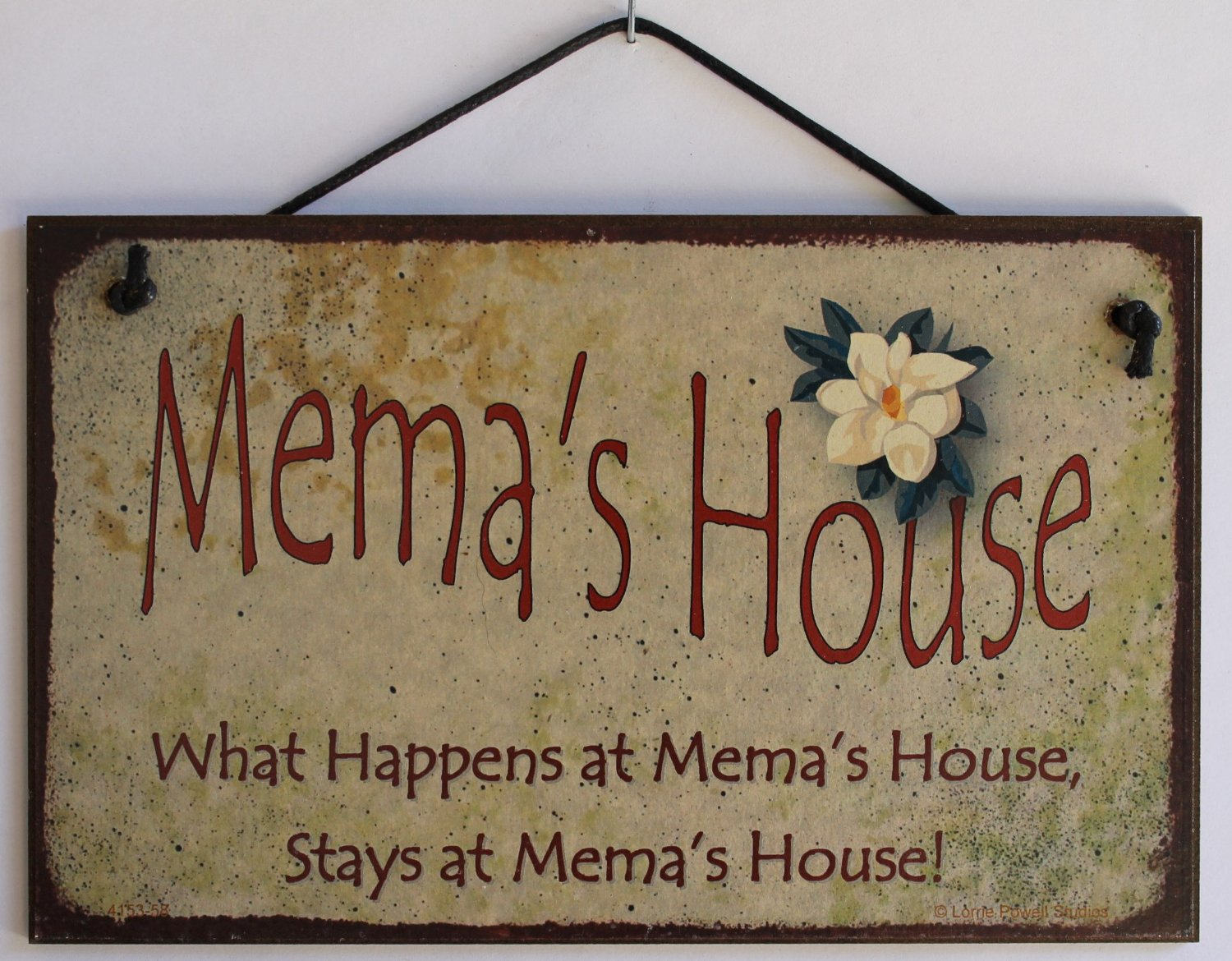 "5x8 Vintage Style Sign with Magnolia Saying, ""Mema's House What Happens at Mema's House, Stays at Mema's House!"""