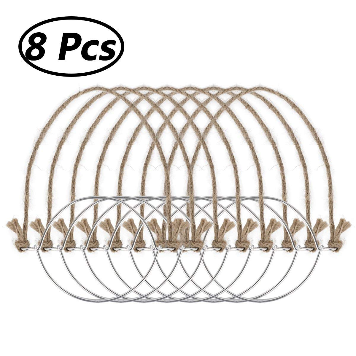 Freebily Stainless Steel Wire Handles for Regular Mouth Mason Ball Canning Jars Hanger Night Lamp Solar Light (8pcs(Burlap))