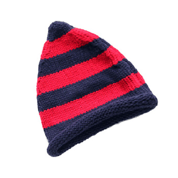 Alibaba wholesale roll brim winter slouchy hat knitting pattern customized red blue stripe beanie hat