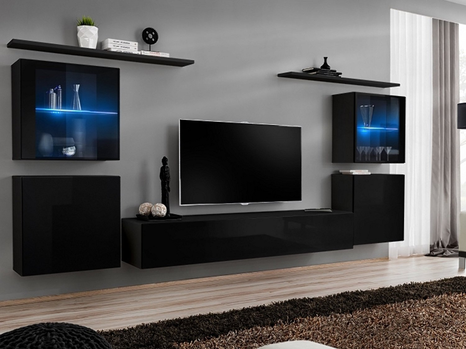 "SHIFT XIV - Seattle collection - Set of 5 modern cabinets Matte Body & High Gloss Fronts - Multicolor remote controlled LED lights - Home entertainment center TV cabinet for up to 80"" TVs (Black)"