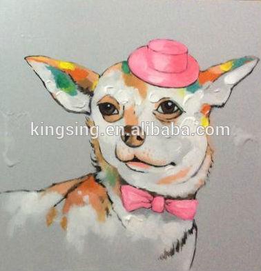 p detail hot vendre peinture huile sur toile chien pour salle de kits