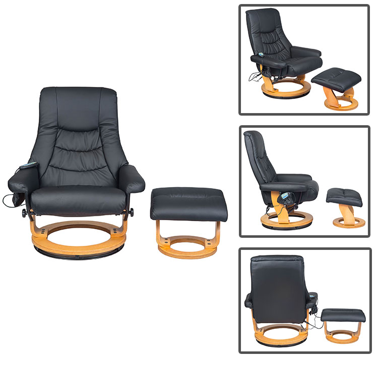 Leather Swivel Recliner Leisure Relax Chair Set with Footrest Stool Ottoman for Home office use