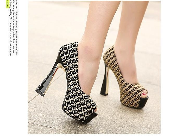 New 2015 Summer Women Cross Golden Striped Pumps Fashion Lady Peep Toe Red Bottom Sandals High Heels Shoes