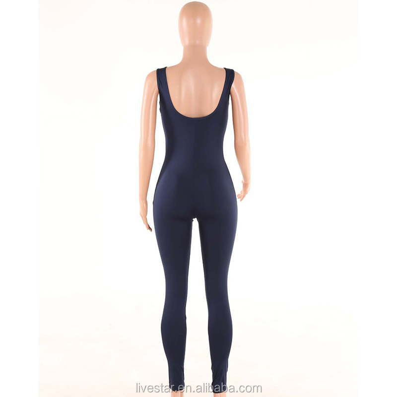 Front Zipper UP Jumpsuit Long Pant For Women Slim Fit Sleeveless Bodysuit Women Yoga Jumpsuits Active Wear Romper
