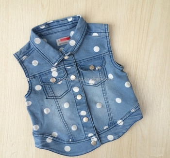 f4998511a Girls Vest Baby Sleeveless Denim Jacket For Child Spring Dotted ...