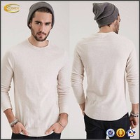Newest fashion mens t-shirt Ribbed Knit Thermal China manufacturer mens costom t-shirt cotton