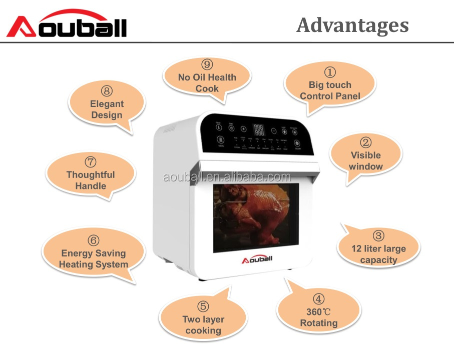 Multifunctionele lucht friteuse oven/12L lucht friteuse met warmte element