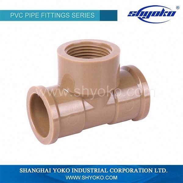 NBR 5648 pvc fittings/ female thread tee with copper