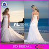Hot Selling Asymmetric Strapless Chapel train Wedding Dress Bridal with Strapless and Beaded