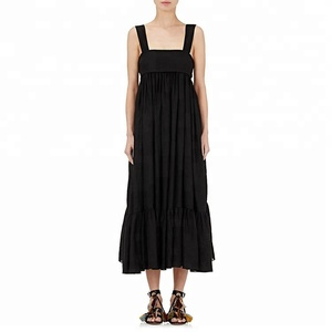 Women Black Linen Pleated Maxi Dress 2018