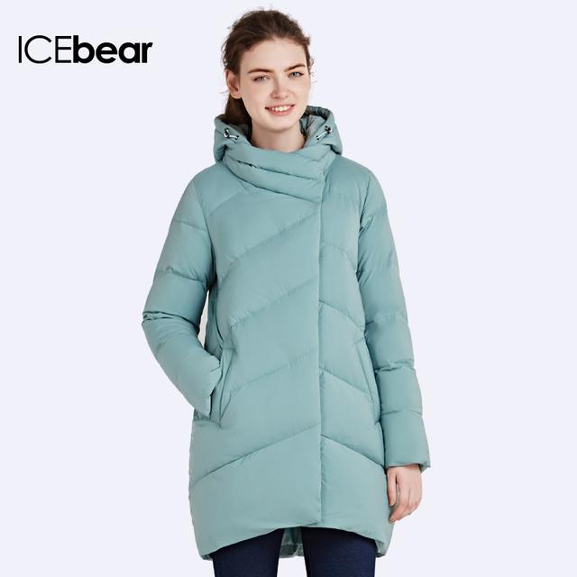 651cf12d720 ICEbear 2016 Полиэстер Длинные Свободные Куртки Рукав Мягкий Zip Капюшоном  Пуховики свободного покроя Верхняя одежда для