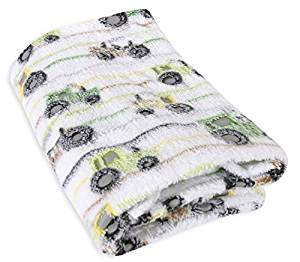 Stephan Baby Super-Soft Coral Fleece Crib Blanket, Down on The Farm Tractor by Stephan Baby
