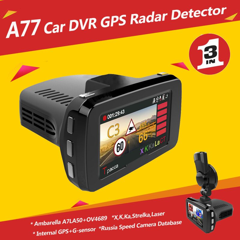 Ambarella A7LA50 Manual Car Camera Full HD1296P DVR GPS Radar Detector X K Band Laser Strelka 3 in 1