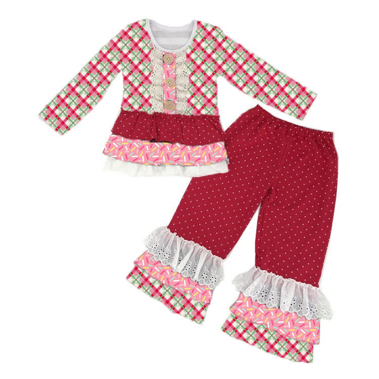 Wholesale bulk kids plaid print clothes ruffle set toddler christmas outfits for children