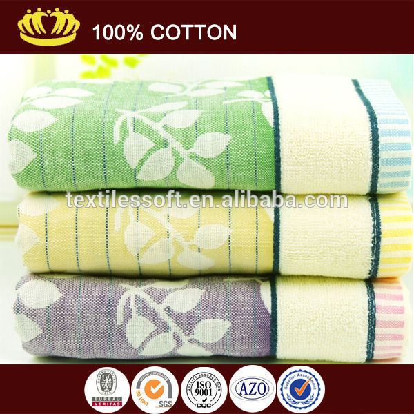 100 cotton yarn dyed jacquard leaves bath towel