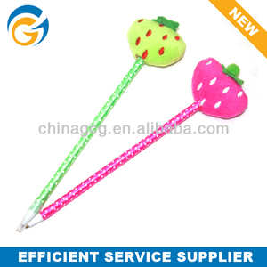 Hot Selling Strawberry Stylus Lint Doll Craft Ball Pen
