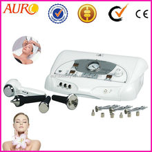 Au-6803 portable diamond microdermabrasion+ultrasonic+cold&hot hammer facial beauty machine 3in1