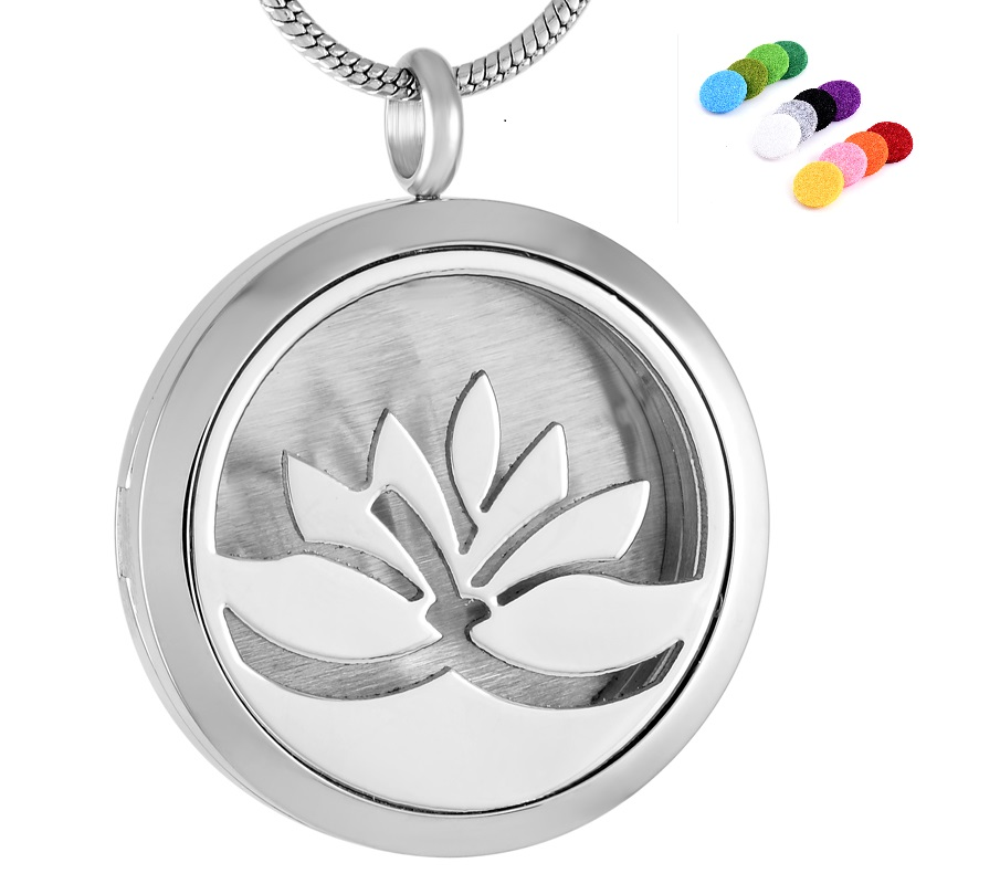 Lotus Flower Essential Oil Diffuser Necklace,Hypo-Allergenic Surgical Steel Aromatherapy Diffuser Locket Pendant+12 Aroma Pad