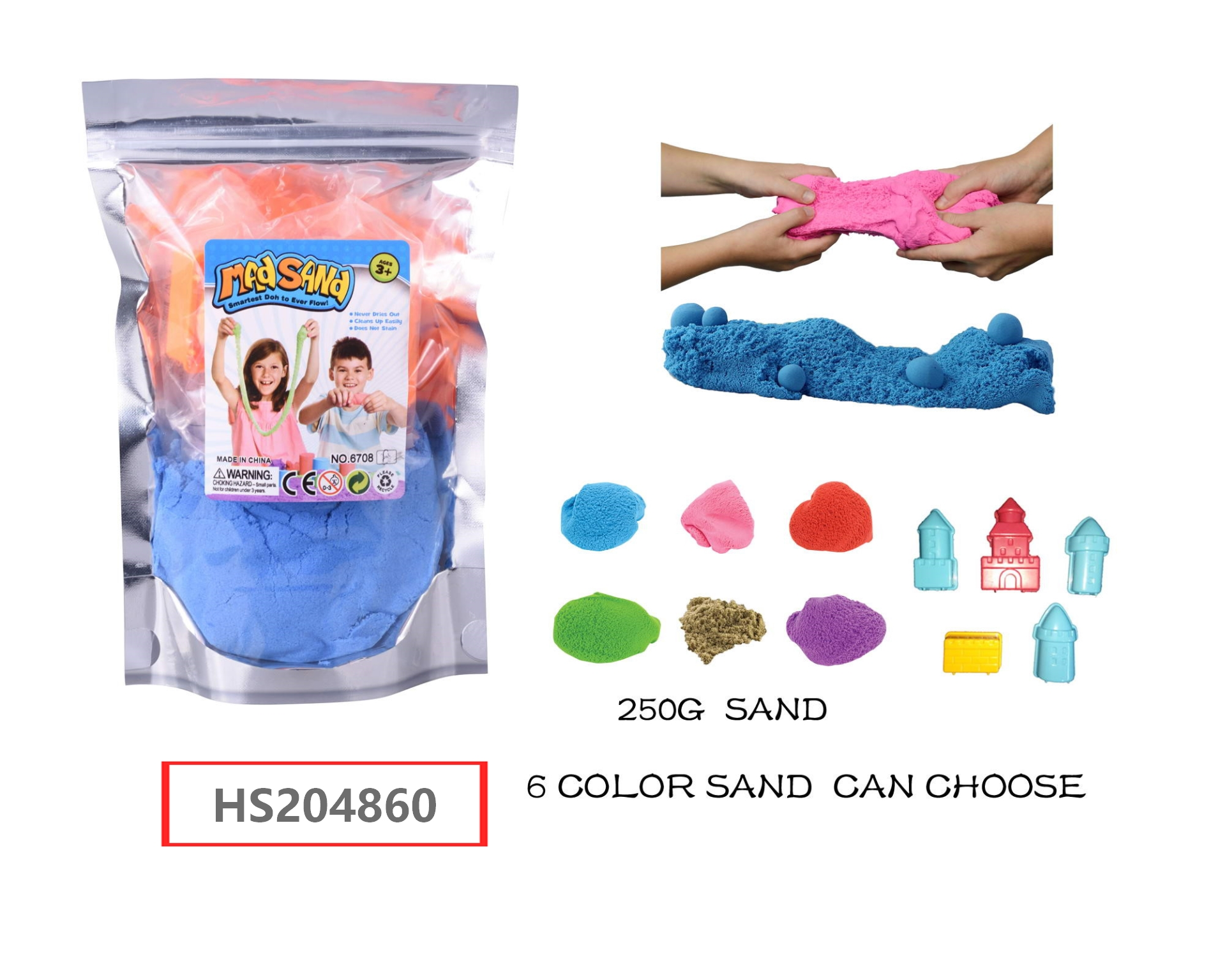 HS204860, Huwsin Toys, Educatioonal toy, DIY Mad sand