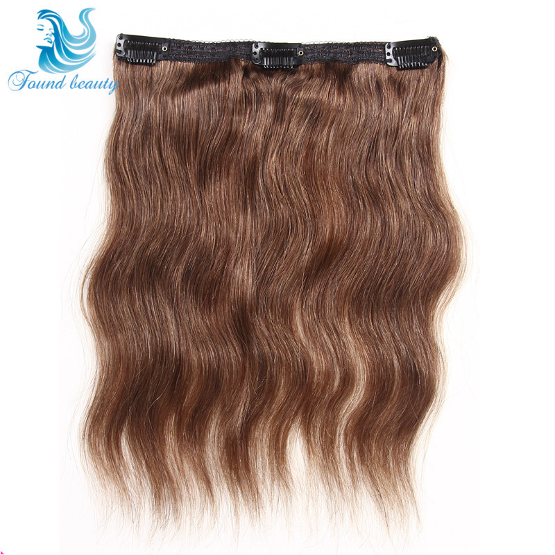 2015 Wavy Clip In Human Hair Extensions Malaysian Body Wave 6pcs  #3 Color 12 Inch Full Head Remy Human Hair Clip In Extensions