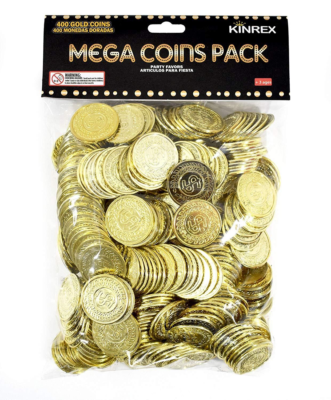 Plastic Gold Treasure Coins 144ct