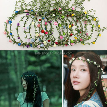 Womens Fashion Boho Style Floral Beach Party Wedding Flower Crown Hairband Headband QFHD