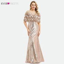 Ever Pretty Дубай Роскошные Розовое Золото Вечерние платья Русалка кисточкой блестками платья EP00991RG Элегантные Формальные Вечерние платья 2020(Китай)