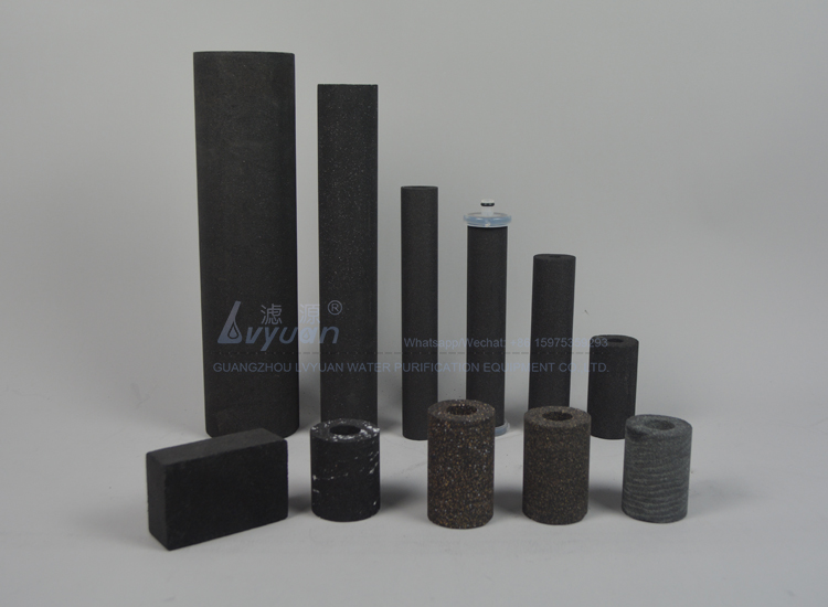 Customized shape charcoal 0.5 to 20 micron activated sintered carbon filter for drinking water filter