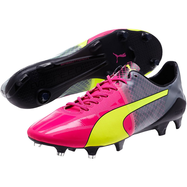 Get Quotations · PUMA Men s evoSPEED Pink Yellow 1.5 Tricks FG Firm Ground Soccer  Cleats 64c6b29ec