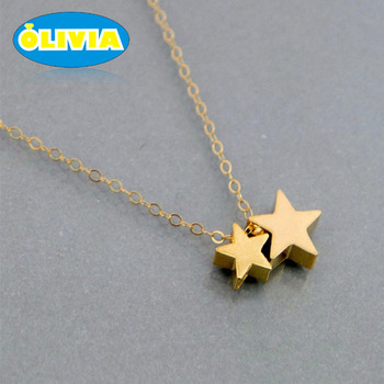 927aada47df42c Lucky Stars Necklace Gift for Mom Gold Filled Thin Chain Small Charm Pendant  Mama Children Gold